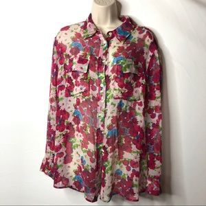 Equipment silk button down blouse rose print M C6